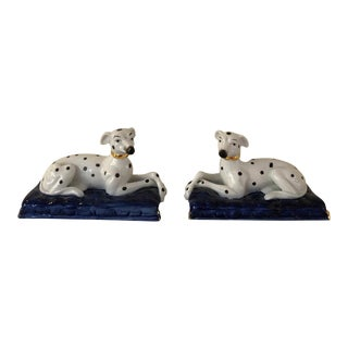 Vintage Staffordshire Style Porcelain Dogs - a Pair