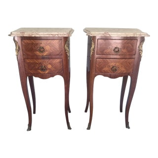 French Louis XV Marble-Top Marquetry Nightstands - a Pair For Sale
