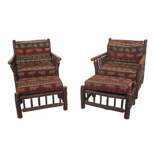 21st Century Old Hickory Rustic Chairs & Matching Ottomans- 4 Pieces For Sale