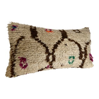 Vintage Hand Loomed Wool Moroccan Azilal Rug Pillow For Sale