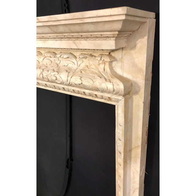 1930s Swedish Painted and Distressed Decorated Fire Surround in Faux Marble Finish For Sale - Image 5 of 13