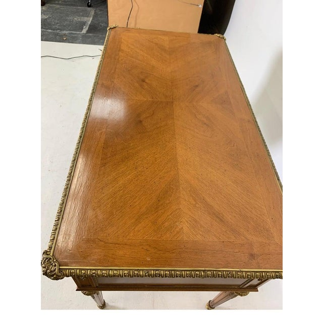 Gold French Style Mahogany and Satinwood Writing Desk With Ormolu For Sale - Image 8 of 13