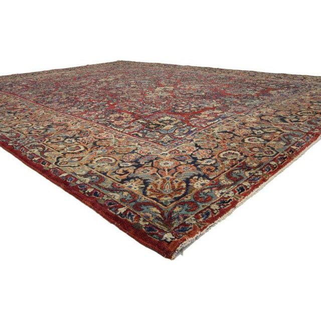 73369, antique Persian Sarouk rug with Art Nouveau styles This highly desirable antique Persian Sarouk rug with Art...