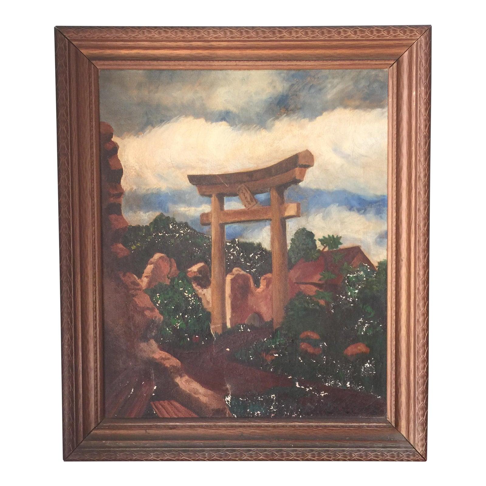 Charles L. Joyce Torii Gate Oil On Canvas Painting, Circa