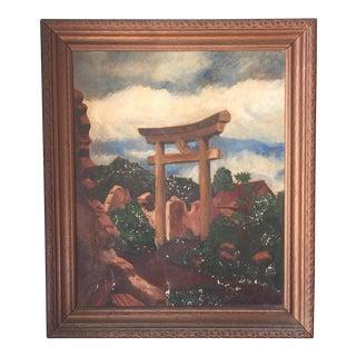 Charles L. Joyce Torii Gate Oil on Canvas Painting, Circa 1946