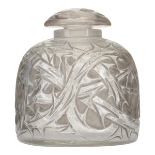 French Art Deco Round Glass Perfume Bottle For Sale