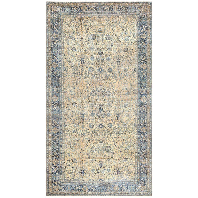Antique Persian Kerman Oversized Vase Design Carpet - 13′6″ × 25′5″ For Sale