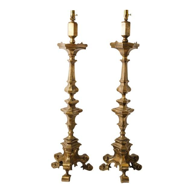 Pair of Nickel-Over-Bronze Floor Lamps For Sale