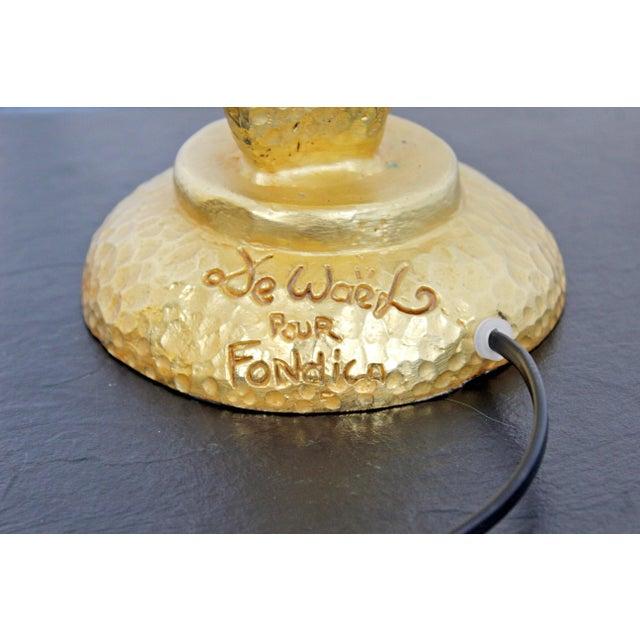 Nicolas de Wael Contemporary Modern Gold Gilt Table Lamp Signed Nicolas De Wael Fondica French For Sale - Image 4 of 6