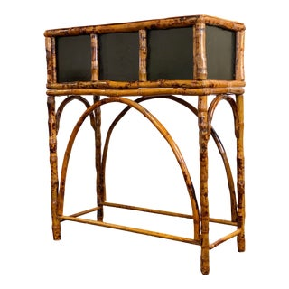 1970s Chippendale Style Burnt Tortoise Bamboo Plant Stand For Sale