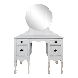 1920s Antique White Vanity & Mirror For Sale
