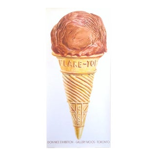 "Don Nice Rare Vintage 1980 ""Ice Cream Cone"" Lithograph Print Pop Art Exhibition Poster For Sale"