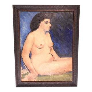 Original Mid 20th C. Vintage Modernist Female Nude Oil on Board-American Artist Thomas Brownell Eldred-Framed For Sale