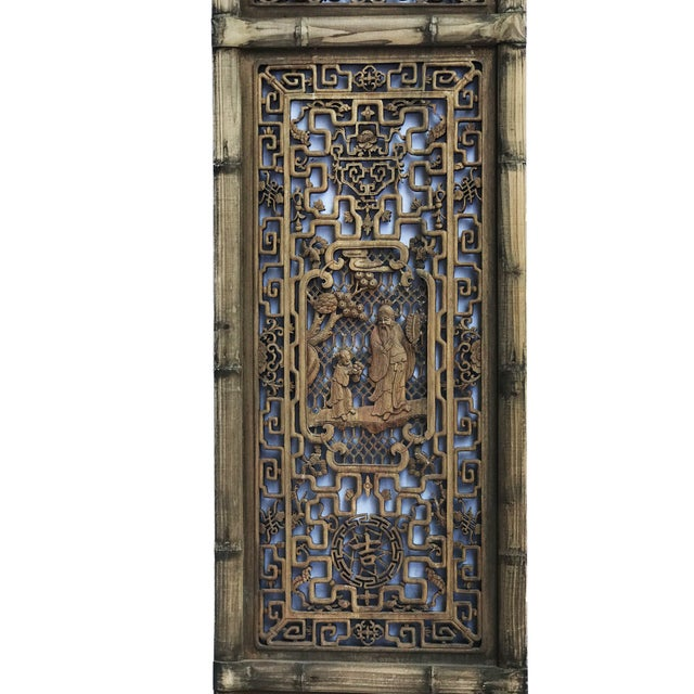 """Old Chinese Hand Carved Wood /Door /Panel 86"""" H For Sale - Image 4 of 9"""