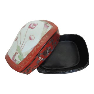 1950s Japanese Lacquer Box Red Jewelry Box For Sale