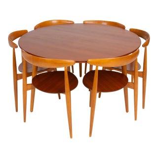 """Hans Wegner """"Hjertestolen"""" Six-Seat Dining Set for Fritz Hansen For Sale"""