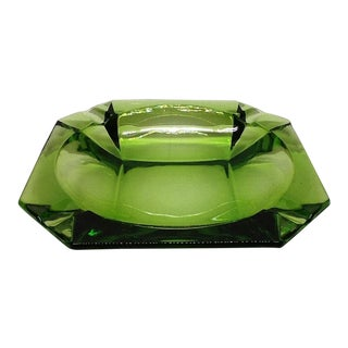 Mid-Century Modern Green Vaseline Glass Style Ashtray For Sale