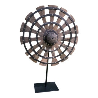 Antique Whirligig/Pinwheel Sculpture on Metal Stand For Sale