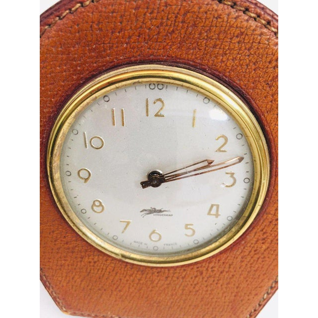 Gold Leather and Brass French Longchamp Desk Clock Jacques Adnet Style For Sale - Image 8 of 13