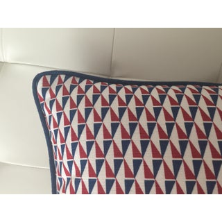 Schumacher Mid-Century Modern Frank Lloyd Wright Designer Pillow Cover With Navy Piping - 20x20 Preview