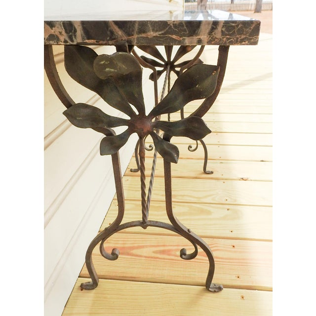 1920s Art Deco Iron Marble Top Hand Forged Side Table For Sale - Image 5 of 8