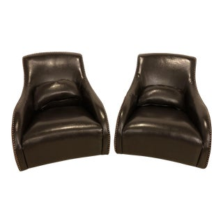 1990s Vintage Leather Rocking Chairs- A Pair For Sale