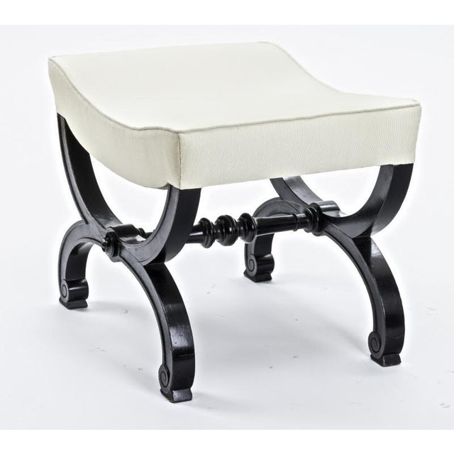 Maison Jansen Maison Jansen Refined Black Lacquered Carved Wood Stool For Sale - Image 4 of 5