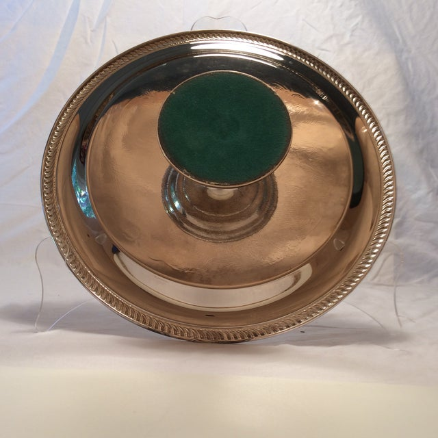 Vintage Unsigned Silver Plated Revolving Cake Tray For Sale - Image 5 of 11