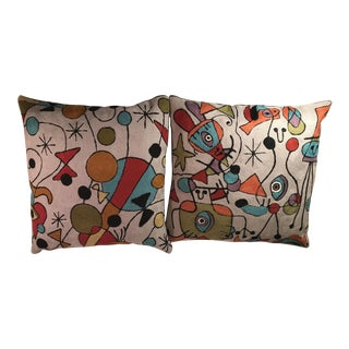 Modern Wool Picasso Inspired Pillows - A Pair For Sale
