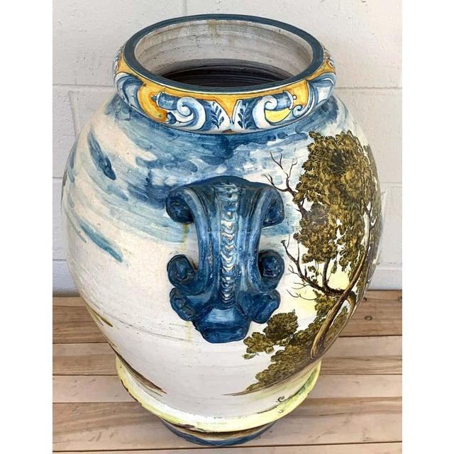 Italian Majolica Landscape Olive Oil Jar/ Jardinière For Sale In Atlanta - Image 6 of 12