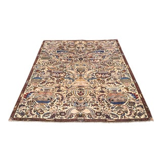 """Vintage Pictorial Persian Rug - 7'1"""" X 10'2"""" For Sale"""