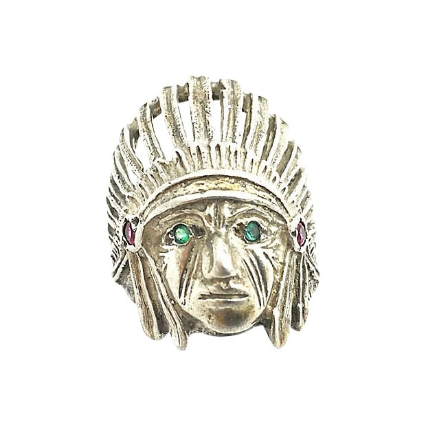 Sterling Silver Indian Chief Head Ring For Sale