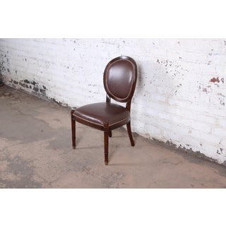 Baker Furniture Milling Road Collection Studded Leather Balloon Back Side Chair Preview