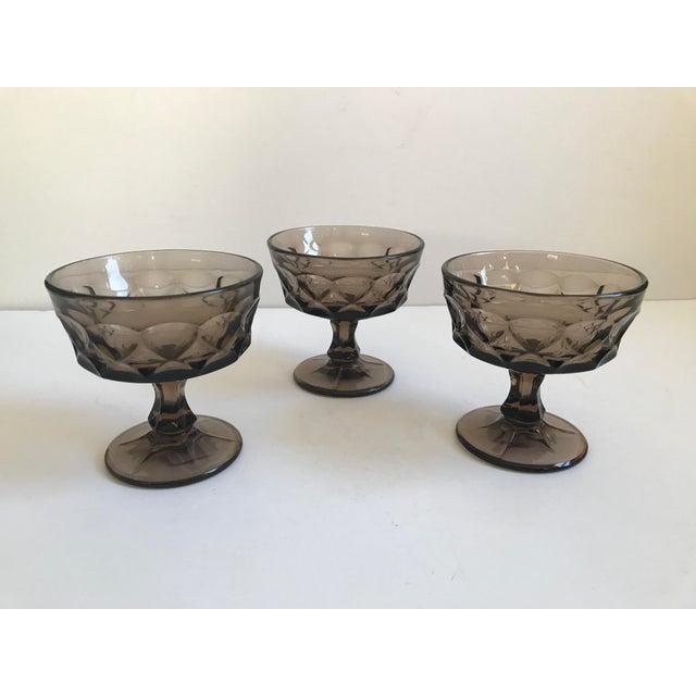 Vintage Smoked Thumbprint Glass Goblets - Set of 6 - Image 7 of 9