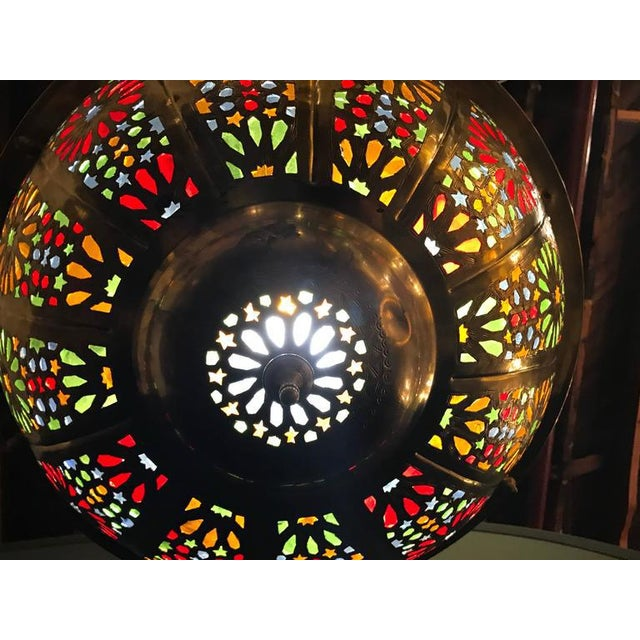 Tiffany Fashioned Hand-Hammered Brass and Colored Glass Light Fixture - Image 6 of 8