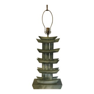 Mid Century Rattan Pagoda Lamp For Sale