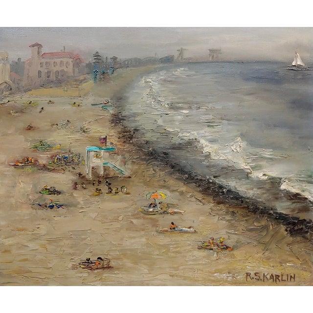 American R. S. Karlin - Santa Monica Beach - 1960s Mid Century Oil Painting Mid Century For Sale - Image 3 of 11