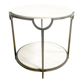 New Bernhardt Brand Metal Abs & Stone Round Side Table