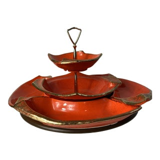 Vintage 1970s Mid Century Modern Ceramic Serving Tray with Swivel Lazy Susan Base For Sale