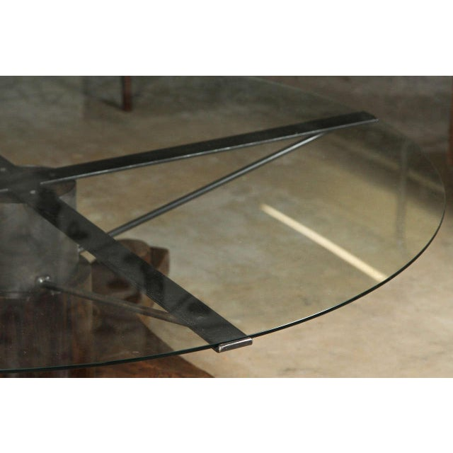 Glass Round Glass Top Coffee Table Made From English Ship Port Part With Metal Base For Sale - Image 7 of 10