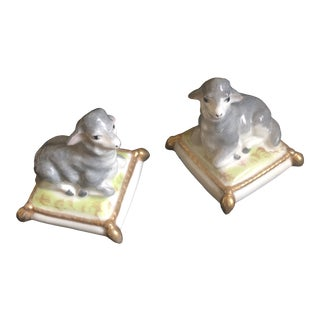 Handpainted Vintage Limoge Sheep Figurines - a Pair For Sale
