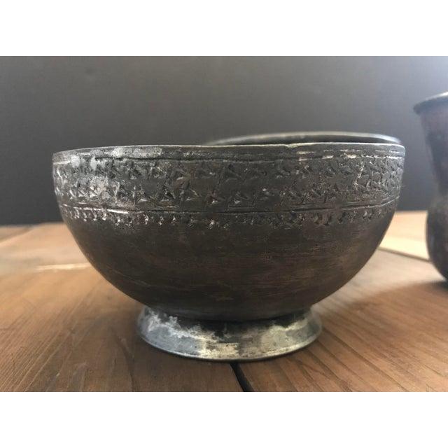 Boho Chic Antique Ottoman-Era Copper Bowls-a Pair For Sale - Image 3 of 8