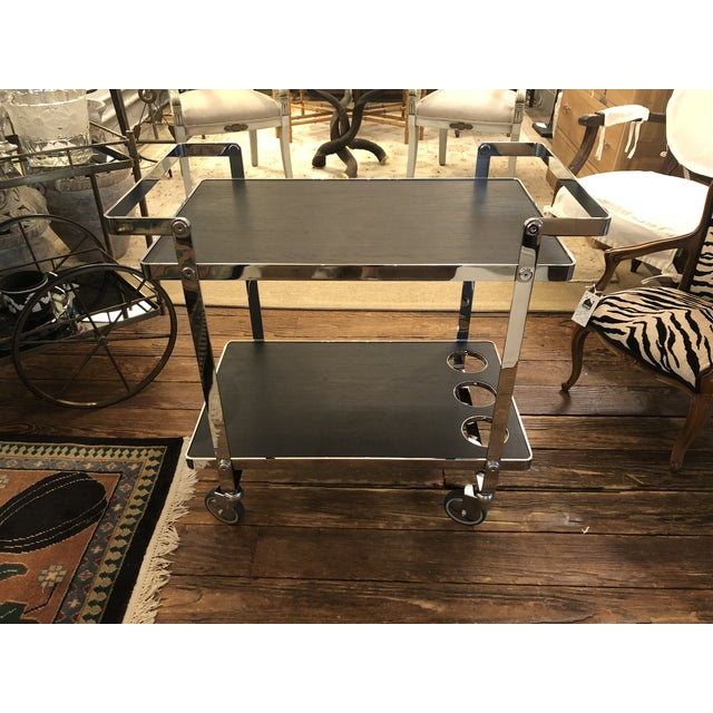 Black Chrome and Black Wooden Laminate Bar Cart For Sale - Image 8 of 10