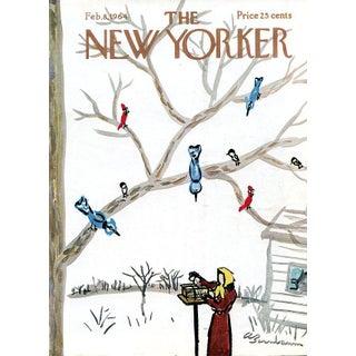 Vintage 1964 New Yorker Cover, February 8 (Abe Birnbaum), Winter, Birds For Sale