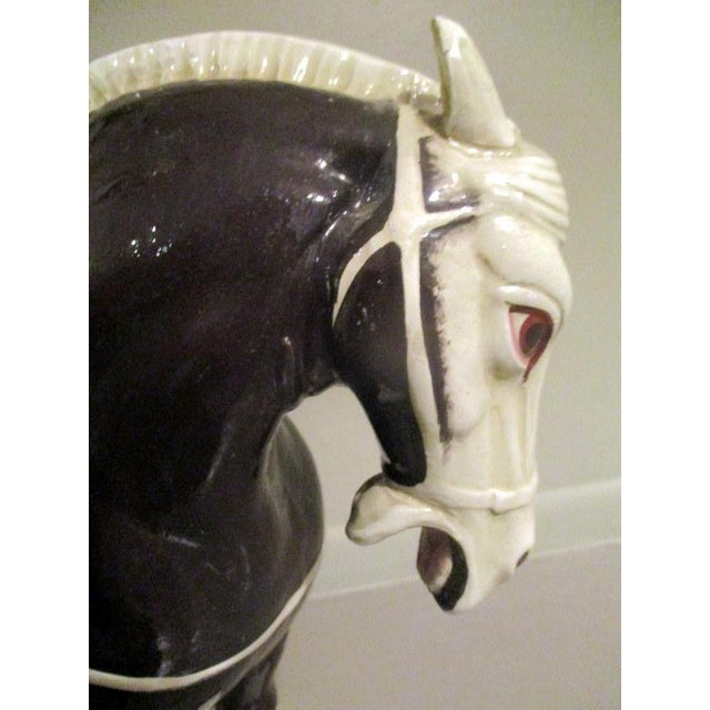 Vintage Chinese Tang Style Ceramic Horse Table Lamp For Sale In Tampa - Image 6 of 10