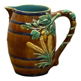 19th Century English Majolica Pitcher With Wheat For Sale