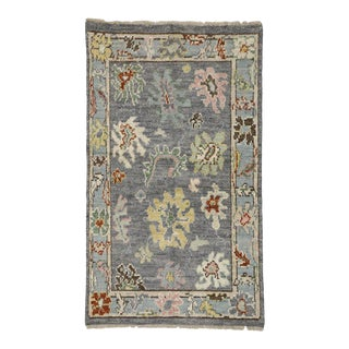 Transitional Lavender Gray Oushak Rug with Modern Traditional Style For Sale