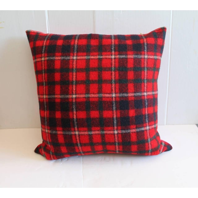 Pendleton Woolen Mills Pair of Red and Blue Pendleton Blanket Pillows For Sale - Image 4 of 6
