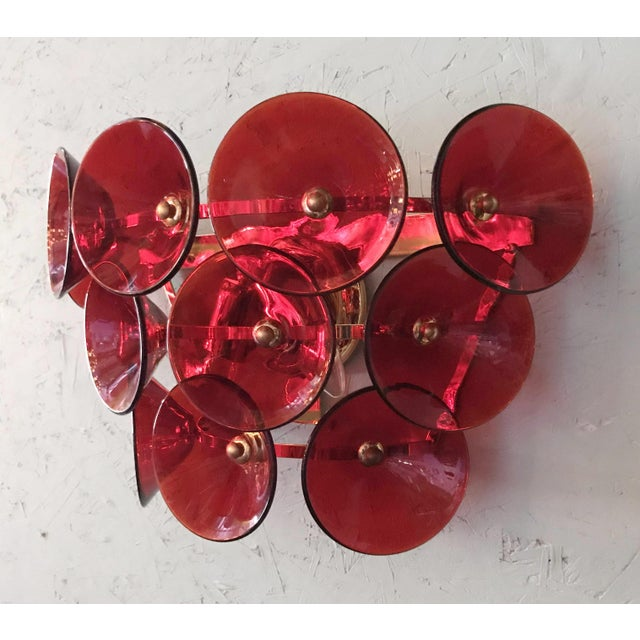 Mid 20th Century Vintage Red Trumpets Sconces by Fabio Ltd For Sale In Palm Springs - Image 6 of 12