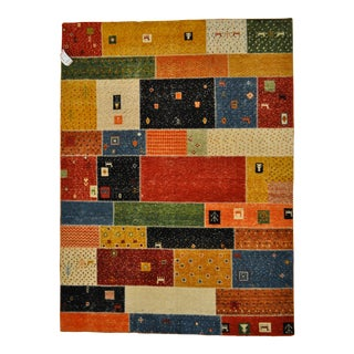 """Patchwork-Like Tribal Motif Colorful Area Rug - 5'9"""" X 7'9"""""""